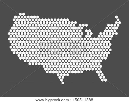 Abstract vector map of United States of America, aka USA. Simple flat mosaic map of white hexagons on dark grey background in a shape of US.