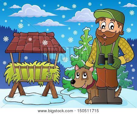 Forester winter theme 5 - eps10 vector illustration.