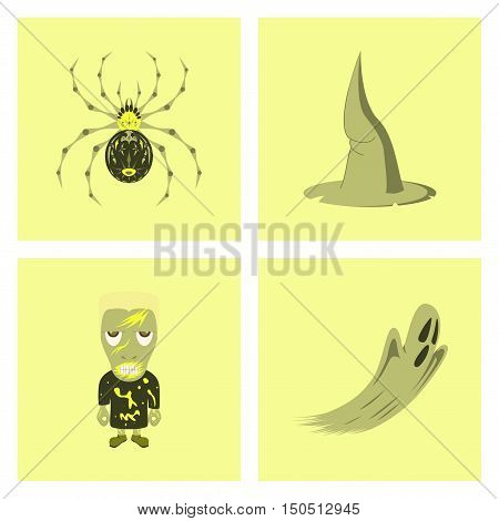 assembly of flat illustration spider witch hat monster ghost
