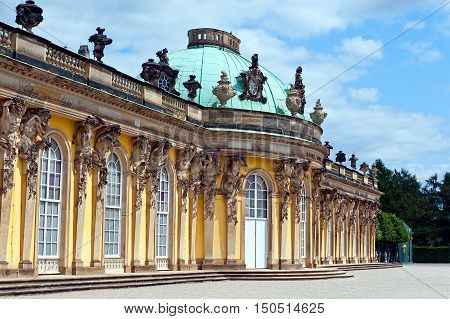 facade of Sanssouci Palace in Potsdam Germany.