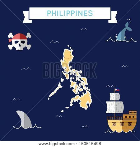 Flat Treasure Map Of Philippines. Colorful Cartoon With Icons Of Ship, Jolly Roger, Treasure Chest A