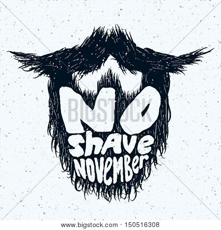 Beard silhouette with No Shave November lettering