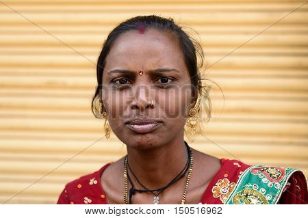 JUNAGADH GUJARAT INDIA - JANUARY 18: Portrait of the Indian woman in the Gujarat state in India Junagadh in January 18 2015