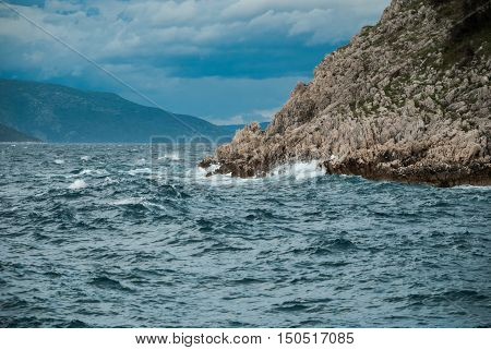 Rough Adriatic Sea In Brestova, Istra, Croatia