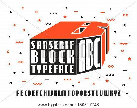Stock vector set of sanserif font. Bold typeface