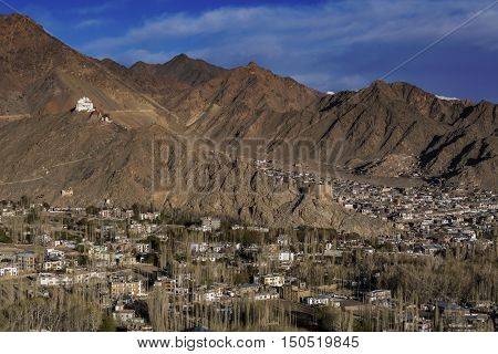 View of Leh city the capital of Ladakh Northern India. Leh city is located in the Indian Himalayas at an altitude of 3500 meters. poster