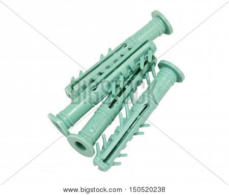 the Plastic dowels isolated on white background