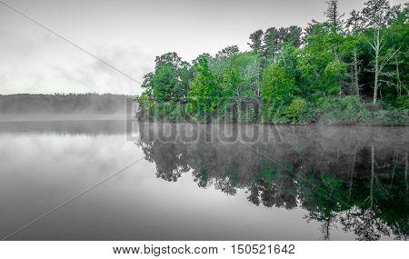 Grandfather Mountain Sunrise Reflections on Julian Price Lake in the Blue Ridge Mountains of Western North Carolina poster