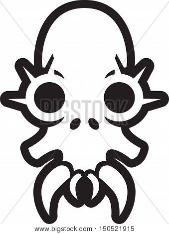 Black and white monster skull with large fangs and spikes around the eyes