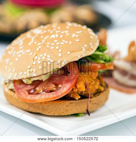 Junk food yummy Meat hamburger on table