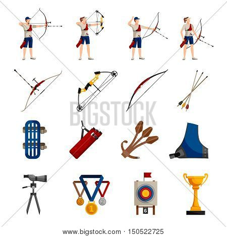 Flat design icons set with archery players different types of bows necessary equipment and rewards isolated on white background vector illustration