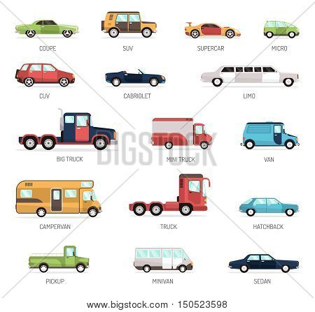 Colorful flat collection of different modern car models in side view with pickup minivan sedan and truck isolated vector illustration