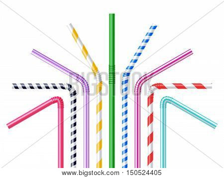 Drinking plastic straws in different colors with stripes realistic vector illustration