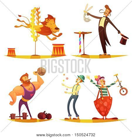 Traveling circus retro cartoon 4 icons square composition with performing strongman clown and magician isolated vector illustration