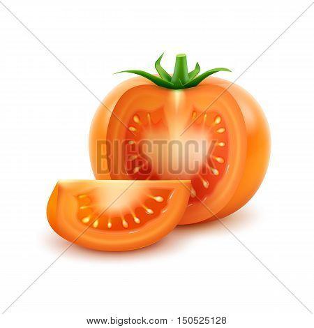 Vector Big Ripe Orange Fresh Cut Tomato Close up Isolated on White Background