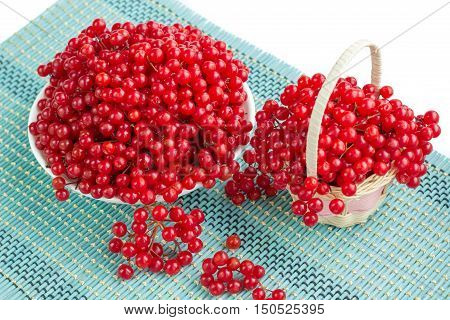 Red Berries In Plate And Basket On Blue Underlay