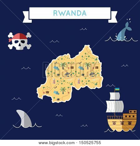 Flat Treasure Map Of Rwanda. Colorful Cartoon With Icons Of Ship, Jolly Roger, Treasure Chest And Ba