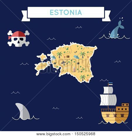 Flat Treasure Map Of Estonia. Colorful Cartoon With Icons Of Ship, Jolly Roger, Treasure Chest And B