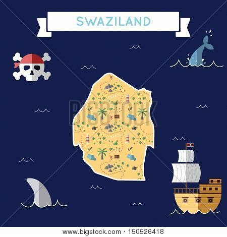 Flat Treasure Map Of Swaziland. Colorful Cartoon With Icons Of Ship, Jolly Roger, Treasure Chest And