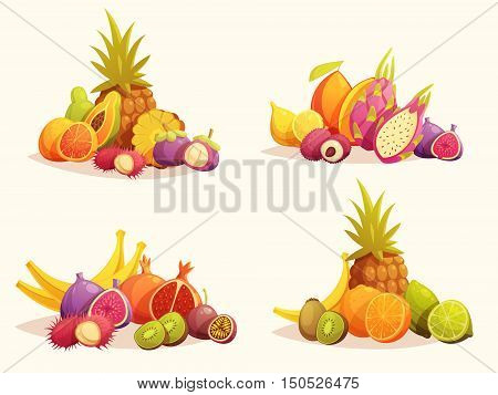 Fresh tropical fruits 4 retro cartoon compositions with pineapple banana orange and citrus isolated vector illustration