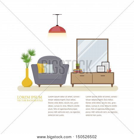 Vector illustration cozy hallway. Armchair, nightstand with a big mirror and a vase of flowers on a white background with space for text. Template for banners or websites. Flat style.