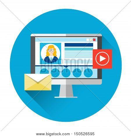 Computer Monitor Social Network Icon Video Blogger Flat Vector Illustration