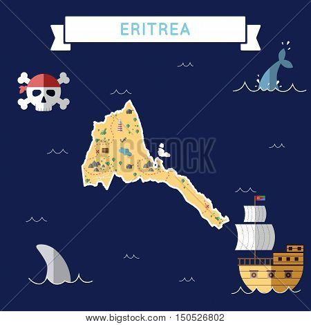 Flat Treasure Map Of Eritrea. Colorful Cartoon With Icons Of Ship, Jolly Roger, Treasure Chest And B