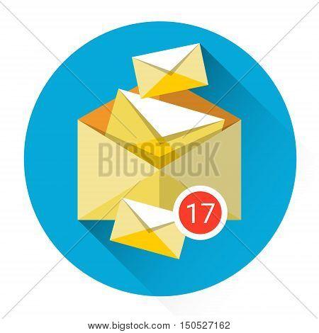 Envelope Digital Marketing Email Inbox Message Send Business Mail Flat Vector Illustration