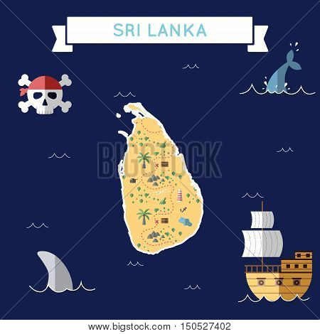Flat Treasure Map Of Sri Lanka. Colorful Cartoon With Icons Of Ship, Jolly Roger, Treasure Chest And