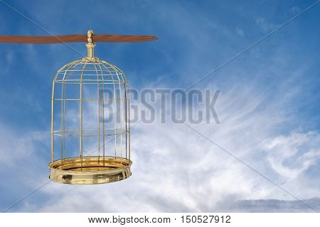 3D rendering of a golden bird cage on sky freedom concept