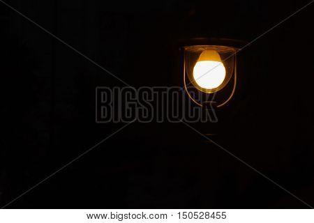 Streetlamp on Black Background at Dark Night