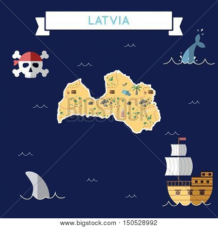Flat Treasure Map Of Latvia. Colorful Cartoon With Icons Of Ship, Jolly Roger, Treasure Chest And Ba