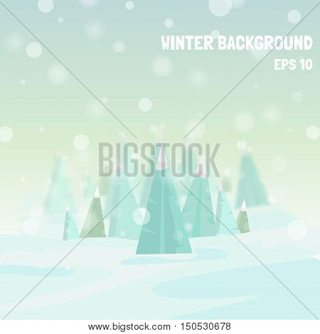 Vector winter background. Holiday winter template with Christmas trees snowflakes and bokeh effect. Vector winter blurred background. Illustration of winter