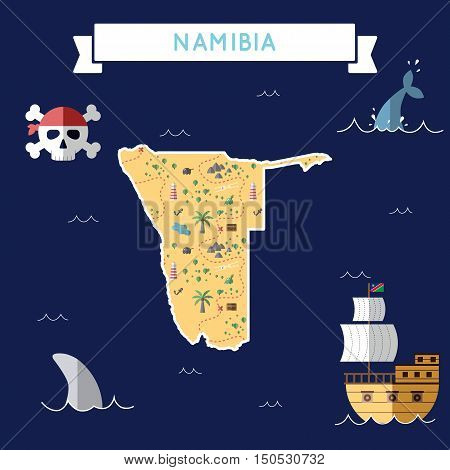 Flat Treasure Map Of Namibia. Colorful Cartoon With Icons Of Ship, Jolly Roger, Treasure Chest And B