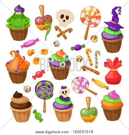 Trick or Treat. Traditional sweets and candies for holiday Halloween. Muffins, cupcakes, cakes decorated in Halloween style and isolated on white background. Retro cartoon style vector illustration.