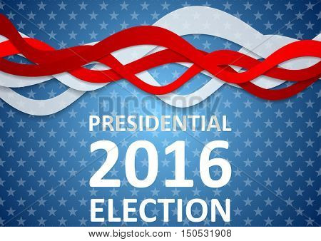 USA Presidential Election 2016 wavy flyer template. Vector background