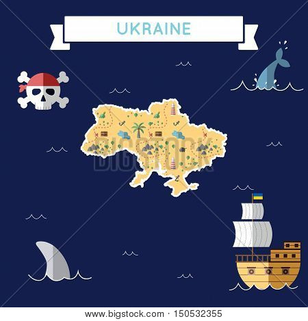 Flat Treasure Map Of Ukraine. Colorful Cartoon With Icons Of Ship, Jolly Roger, Treasure Chest And B