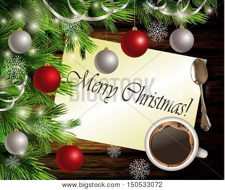 Christmas New Year design dark wooden background with christmas tree and silver and red balls and Merry Christmas greeting card coffee and teaspoon