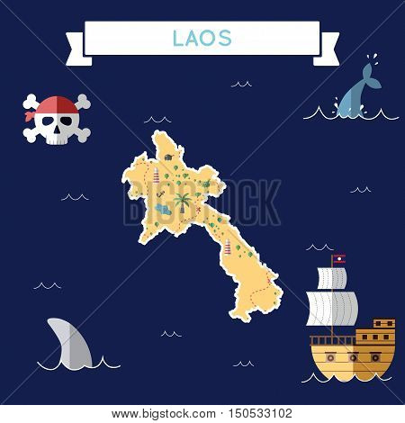 Flat Treasure Map Of Lao People's Democratic Republic. Colorful Cartoon With Icons Of Ship, Jolly Ro