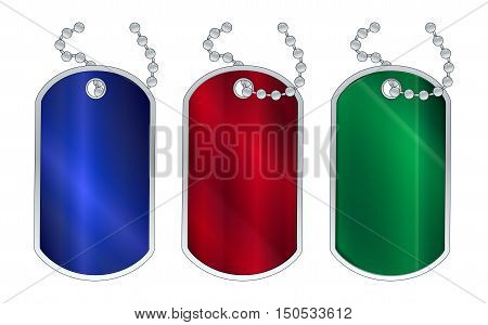 A set of 3 red gree and blue dog tags with chain over a white background