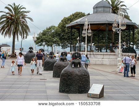 Santander, Spain-August 17: famous sculptures  by Manolo Valdes well-known spanish artist, residing in New-York located on embankment of Santander-on August 17 2009 in Santander Cantabria Spain