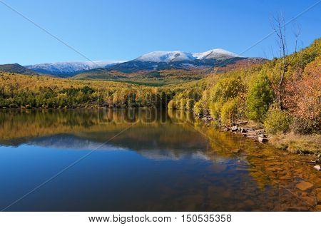 Moncayo peak. With an altitude of 2314 meters is the highest peak in the province of Zaragoza, Parque Natural de la Dehesa del Moncayo, Zaragoza, Aragon, Spain.