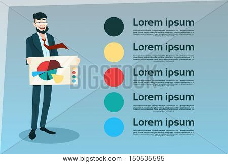 Smiling Business Man Hold Banner With Pie Diagram Flat Vector Illustration