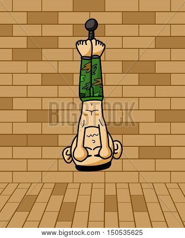 art prisoner army hanging on brick wall cartoon illustration