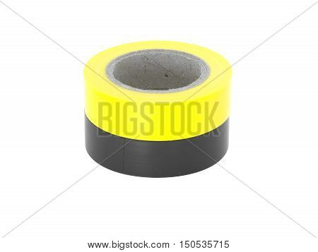 Protecting yellow, black insulation tape rolls, isolated on white background