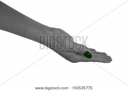 Palm up holding anything, natural woman's skin, green manicure. Isolated on white background.