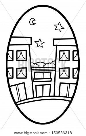 art building cartoon in ellipse illustration background