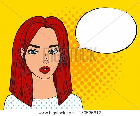 Pop art sexy woman with speech bubble. Fashion beautiful woman with red hair. White pop art bubble for banner. Comic girl says vector illustration on yellow background