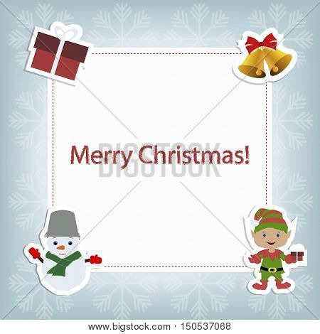 festive Christmas card with Christmas elements. Template for decoration and greetings. Christmas baby vector illustration