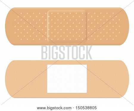 Adhesive bandage - both sides, surface and reverse with white absorbent pad.